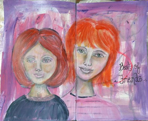 fun art journal page, face practice.