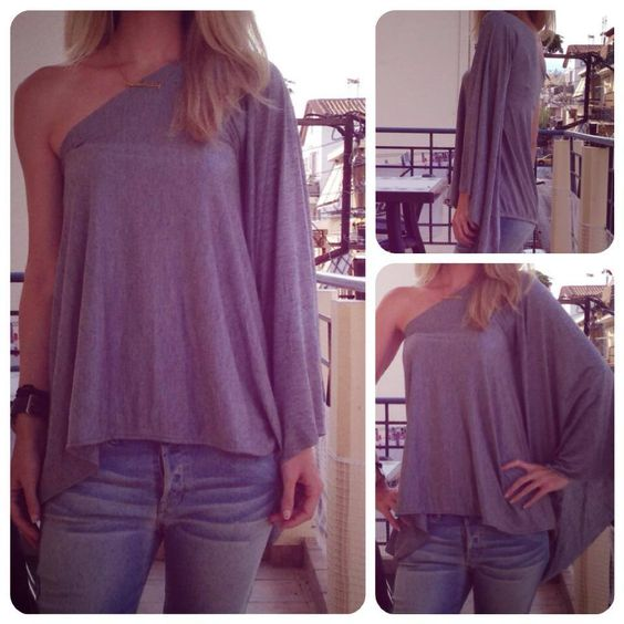 One Shoulder Grey Top by MaryMe   #top #blouse #loose #winter #grey #loose #casual #oneshoulder #boho #fashion #style #handmade #maryme #batwig