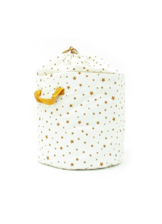 Storage Bag / White with Mustard Stars - ROOM - Products : Fawn Shoppe - Global Boutique For Unique Children's Designs