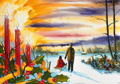 Imfpa The Snow Sleigh Painting Contemporary Wall Art