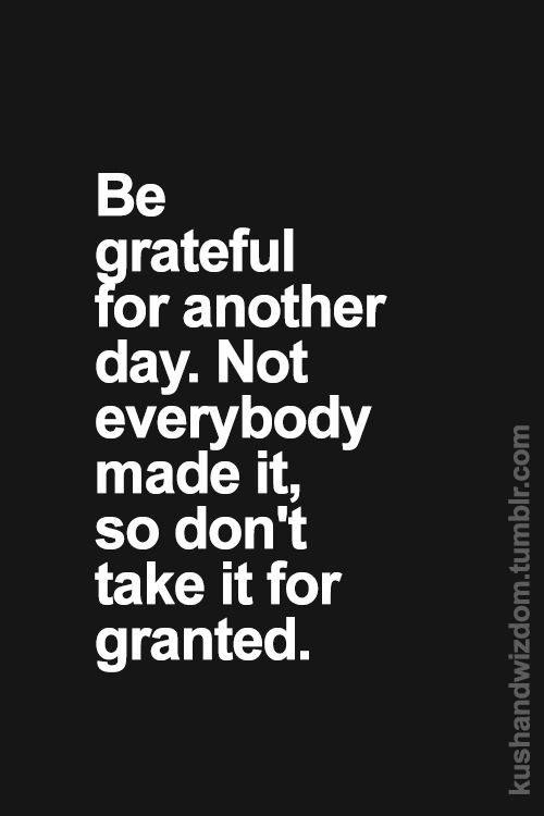 Be grateful for another day. Not everybody made it, so don't take it for granted.