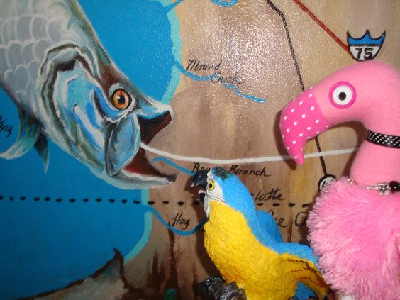 Patsy & Paulie enjoy checking out the wildlife in the murals at Laishley Park in Punta Gorda, Florida