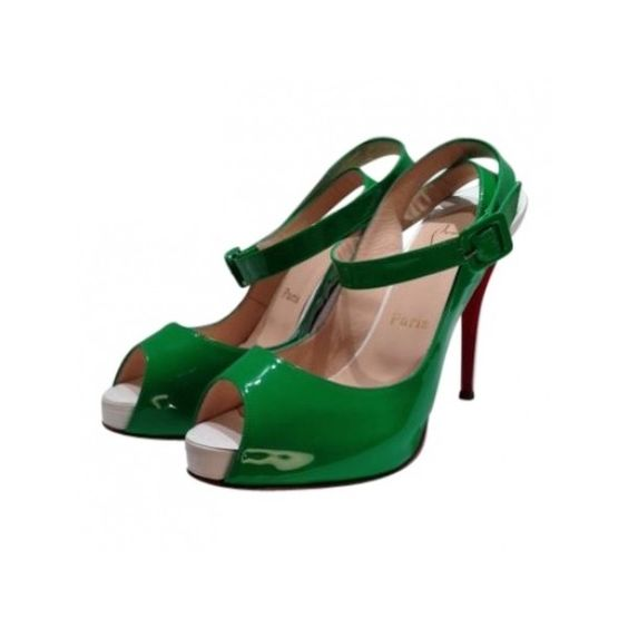 Pre-owned Christian Louboutin Heels ($262) ❤ liked on Polyvore featuring shoes, pumps, green, heels, christian louboutin pumps, christian louboutin, pre owned shoes, green pumps and heels & pumps