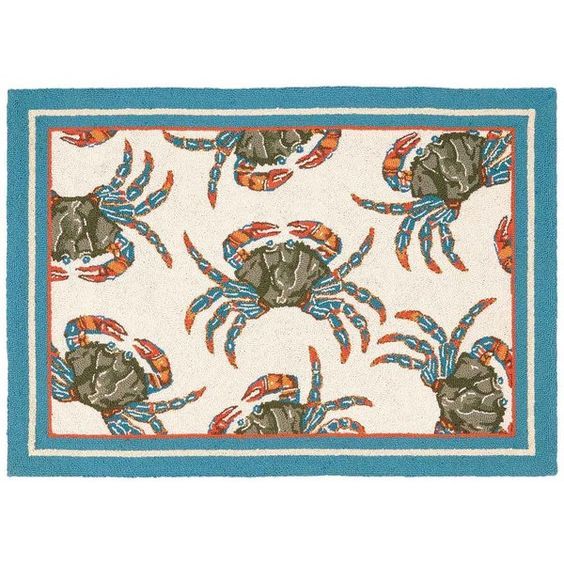 Thos. Baker Blue Crab Rug (¥12,125) ❤ liked on Polyvore featuring home, rugs, blue wool area rugs, wool area rugs, wool rugs, blue rugs and blue area rugs