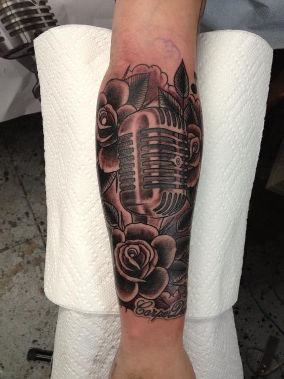 Jeffery Page #tattoo #Traditional #roses #microphone #Music California Gold Tattoo Los Angeles, CA Hollywood Calif. Silver Lake