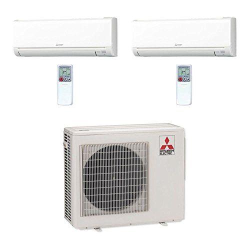 Mitsubishi 24 000 Btu Mr Slim Dual Zone Ductless Mini Split Air Conditioner Heat Pump 208 230v 6 18 Ductless Mini Split Heat Pump Heat Pump System