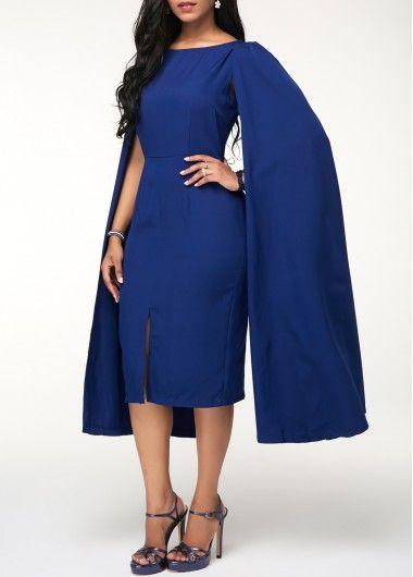 Cape Sleeve Front Slit Royal Blue Sheath Dress | Rotita.com - USD $33.60