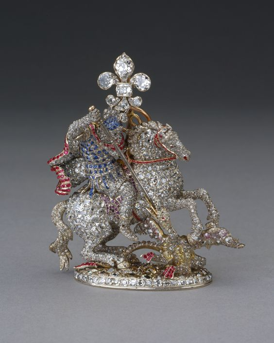 George badge of the Order of the Garter, belonging to King George III. 1775-1800 Diamond, ruby, sapphire, amethyst, silver and gold Great