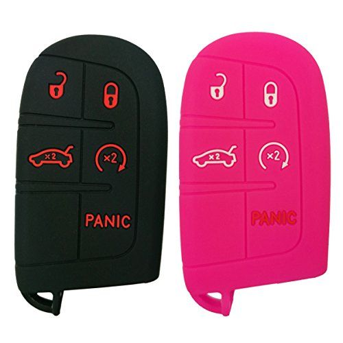 2pcs Coolbestda Rubber 5 Buttons Smart Key Fob Protector Skin Cover Case Keyless Jacket For Jeep Grand Cherokee Dodge Challenger Charger Dart Durango Journey Ch