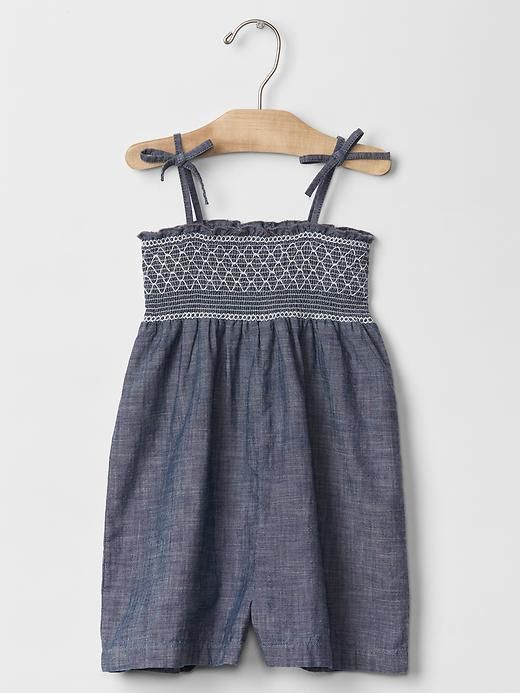 1969 Smocked Chambray Romper