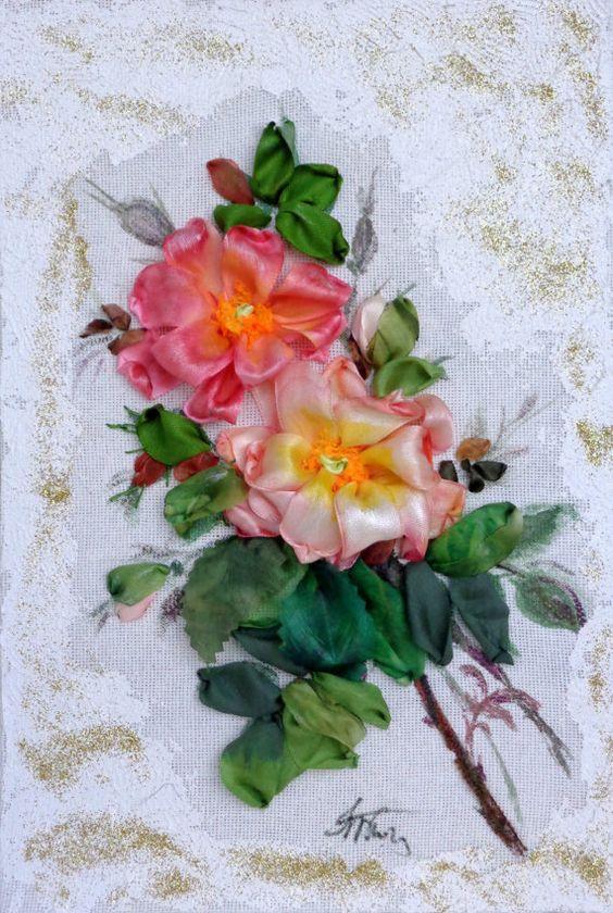 Ricamo Rose   Silk ribbon embroidery di SilkRibbonembroidery, €40.00