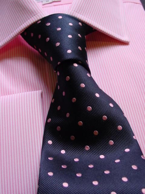 Pink Shirt with purple dotted tie