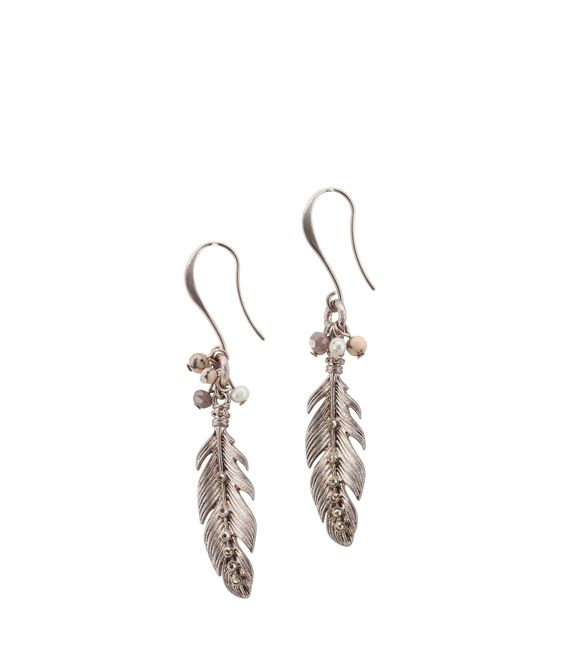 Spencer and Rutherford - Accessories - Jewellery - Drop Earrings - Feather Earring - Rose Gold
