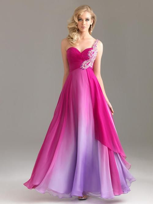 One Shoulder Ombre Color Long Prom Dress for Girls with Appliques ...