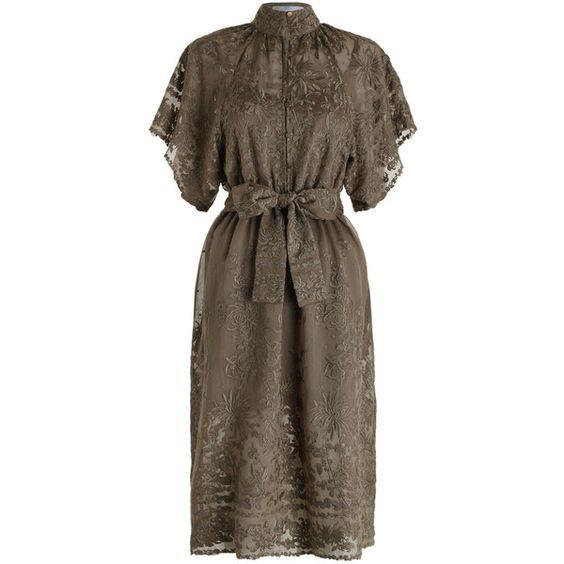 ZIMMERMANN Sakura Kimono Dress (€610) ❤ liked on Polyvore featuring dresses, sleeved summer dresses, scalloped hem dress, embroidered kimono, swim dress and kimono sleeve dress