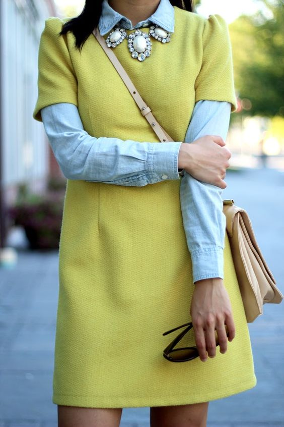 chambray buttondown, short sleeved dress, statement necklace, outfit