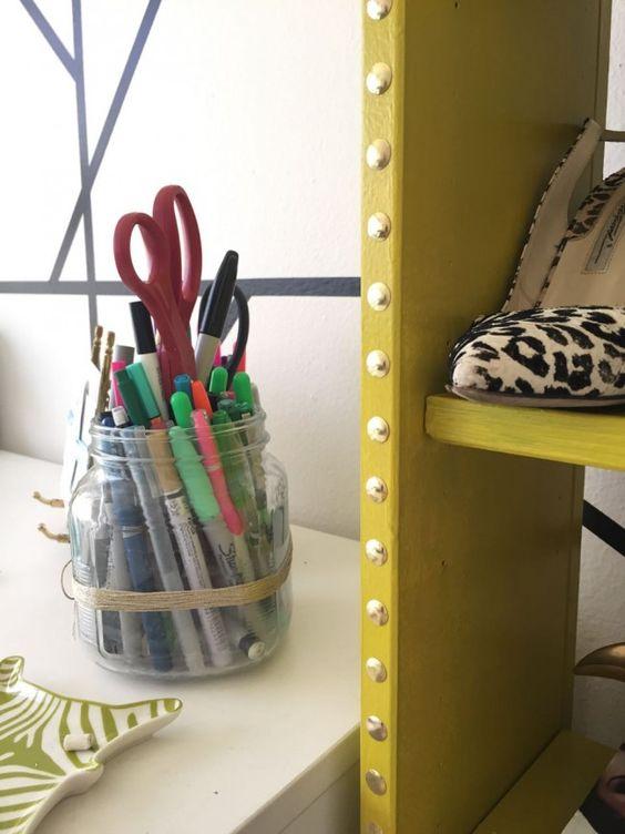 DIY IKEA Bookshelf nailhead Hack // thestylesafari.com