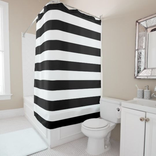 Chic Black White Stripes Shower Curtain Zazzle Com Gold Shower Curtain Striped Shower Curtains Modern Shower Curtains