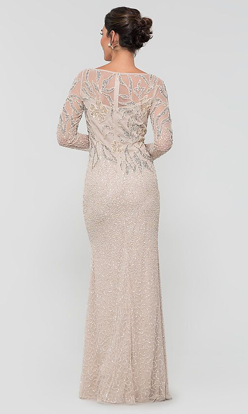 Long Adrianna Papell Beaded Mob Dress With Sleeves Mother Of Bride Outfits Mother Of The Bride Dresses Long Mother Of Groom Dresses
