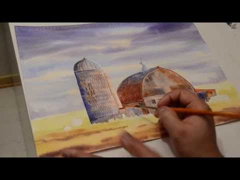▶ Painting A Weathered Barn in water color full version - YouTube