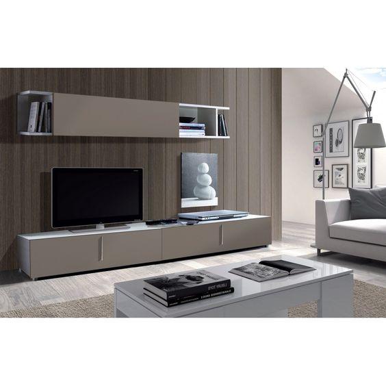 meuble tv taupe complet haut et bas design tendance l gance il ira dans tous les int rieurs. Black Bedroom Furniture Sets. Home Design Ideas