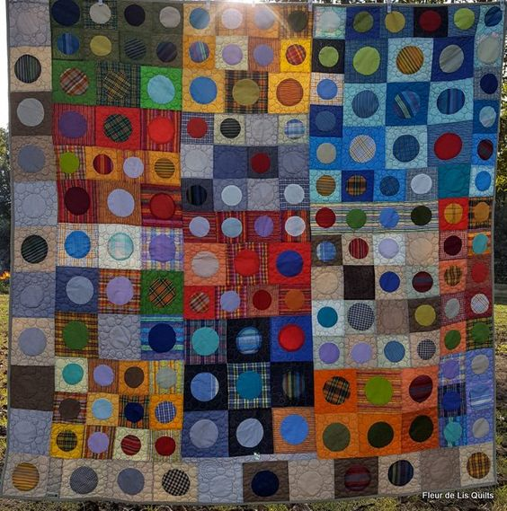 """The Quarry,"" my version of the Quilty 365 project quilted completely in circles (pebbles). It was a constant reminder of a quarry that we saw on vacation in 2015."