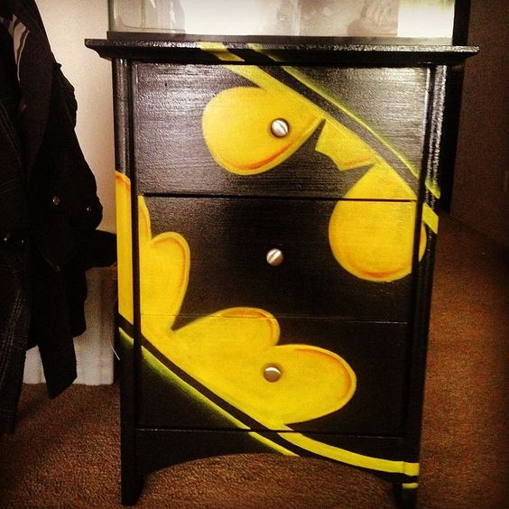Batman night stand so happy to have this beauty in my for Batman bedroom paint ideas