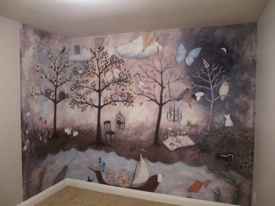 Aubree 39 s enchanted forest nursery nursery murals my for Anthropologie enchanted forest mural