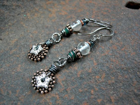 Clear crystal & aqua African glass mixed metal earrings by Elksong Jewelry