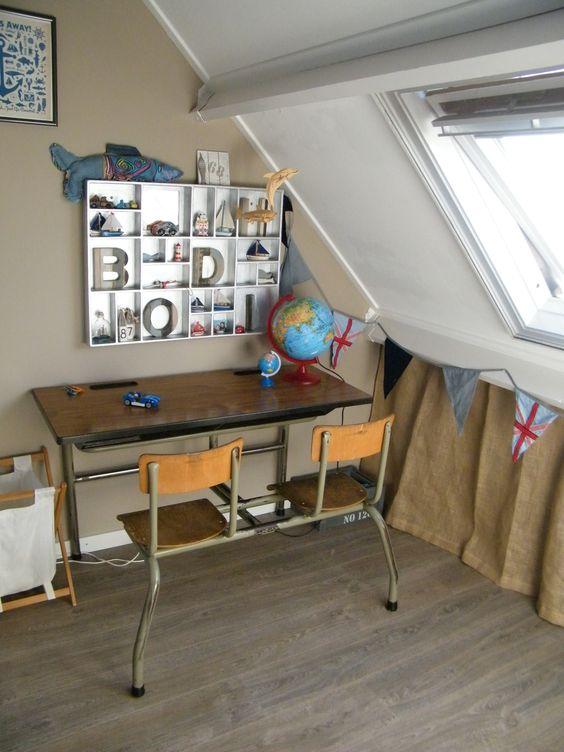 Vintage school desk in boys bedroom, nautical beach style with globe