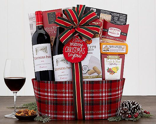 Merry Christmas To You Red White Wine Gift Basket Holiday