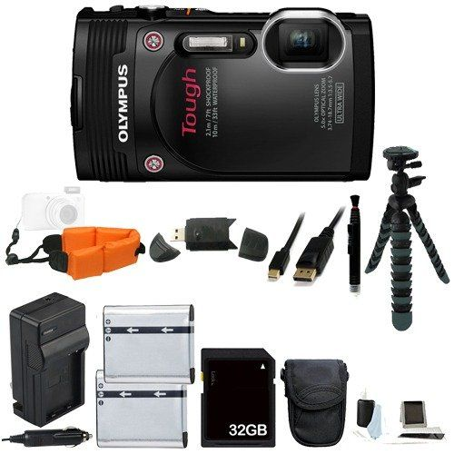 """Olympus Stylus TOUGH TG-850 iHS Waterproof Digital Camera (Black) Bundle Includes Extra Batteries, an AC/DC Charger, Floating Wrist Strap, 12"""" Flexible Tripod, and with a FREE 32GB Class 10 SDHC Memory Card and MORE! - About the Olympus Stylus TOUGH TG-850 Digital Camera from Olympus: RUGGED STYLE. REFINED FEATURES.Outdoor adventures spice up our lives…and the TG-850 is the perfect camera for preserving the memories. A super-wide lens takes in more of the beauty. A soph"""