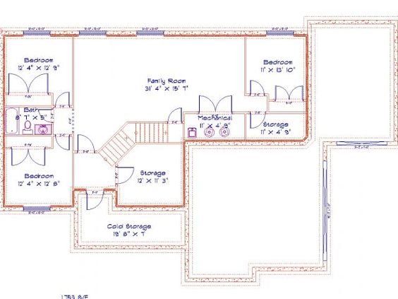 basement floor plan make bedroom to right of family room a full bathroom the two