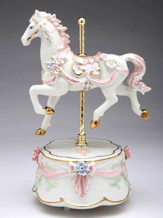 Baby Girls Pink Musical Carousel With Horses And Music Box Nursery Room Decor UK