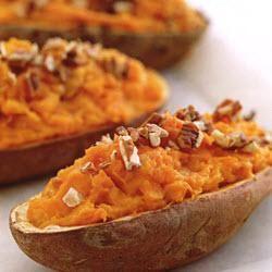 Gepofte zoete aardappelen, zonder suiker en met verse ananas
