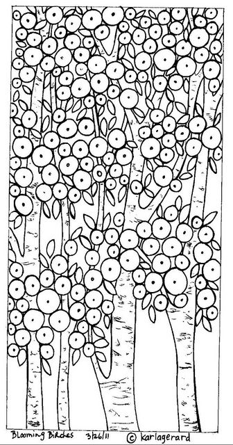 rug hooking paper patterns for sale: Line Drawings, Karla Gerard, Embroidery Patterns, Doodle Trees, Paper Pattern, Coloring Pages, Birches Pattern, Blooming Birches, Rug Hooking Patterns