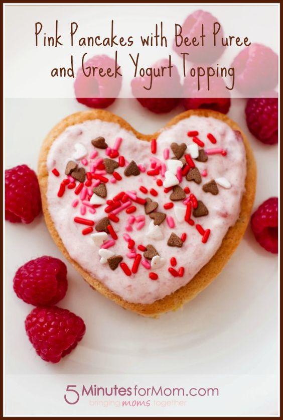 Pink pancakes with beet puree and greek yogurt topping.
