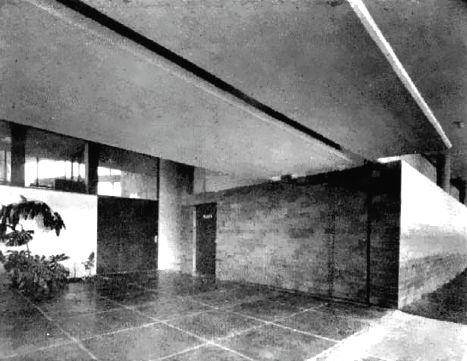 Entrada, Fabrica Cinzano, Insurgentes Norte 1210 esq. Poniente 116, Capultitlán, Gustavo A Madero, México DF 1954 Arq. Jesús García Collantes - Entrance, Cinzano plant, Insurgentes Norte 1210 at Pte 116, Capultitlan, Gustavo A Madero, Mexico City 1954