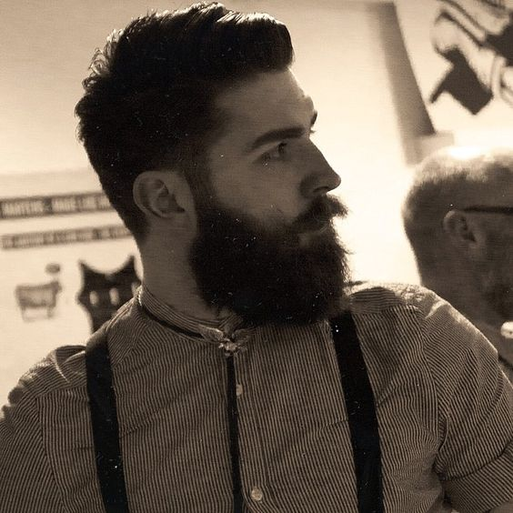 Chris John Millington - full thick dark beard and mustache beards bearded man men mens' style fashion suspenders dapper model handsome #beardsforever