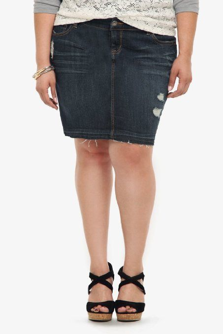 torrid plus size denim destructed mini skirt