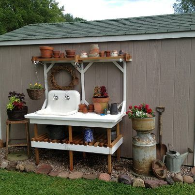 """I built this stand for my Mother for Mother's Day with scrap lumber that I am always saving for """"something"""". Mom had the old cast iron farm sink that she was saving for """"something"""". It turned into something really special!"""