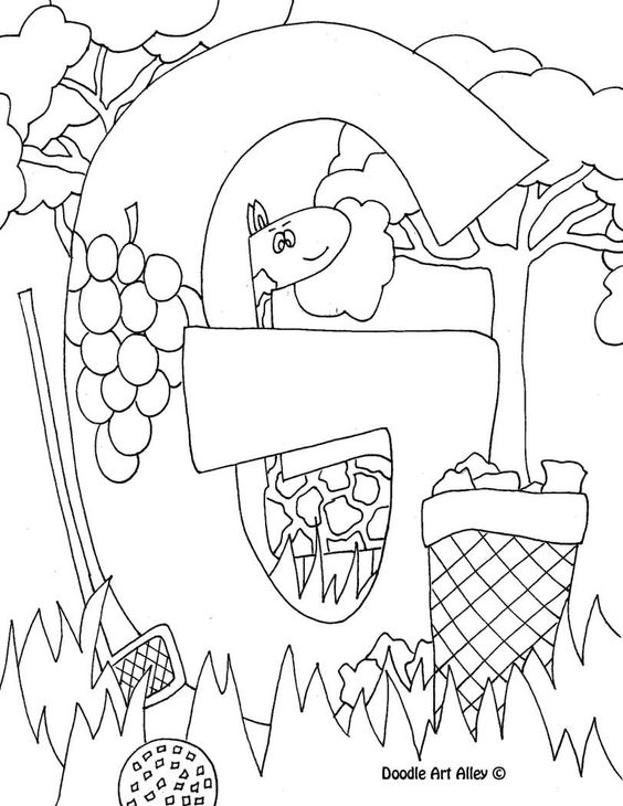 Letter coloring pages doodle art alley art journals for G coloring page