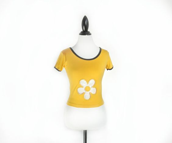 90's Clear Flower Futuristic Yellow Cyber by FeelingVagueVintage