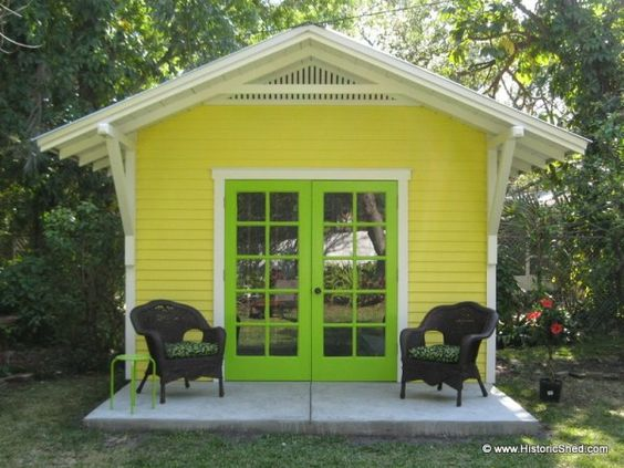 Bright colored shed w front roof overhang by historic for 144 sq ft shed