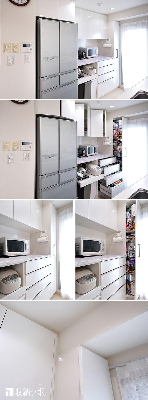 収納スペースが足りないキッチンの 悩みだったデットスペースを有効活用したキッチン収納 デットスペースになっていた 梁下にパントリーを利用して充分な収納 スペースを確保しました 収納ラボ アーキテリア 室内建築 壁面収納 収納家具 キッチン収納 キッチン
