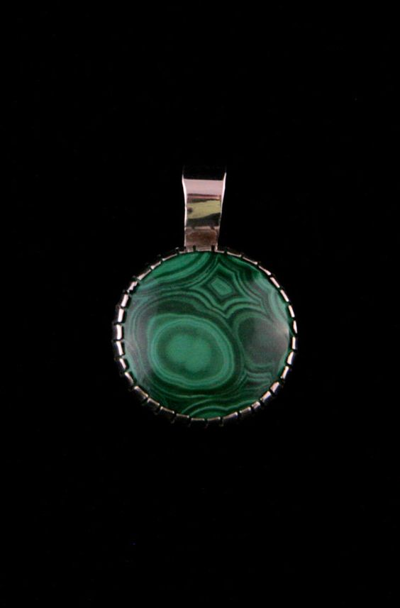 Malachite and Silver Pendant by JewelrybyCGDesigns on Etsy, $160.00