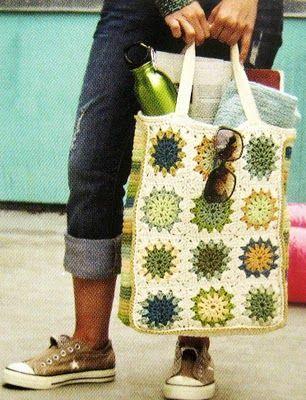 Granny square reusable bag