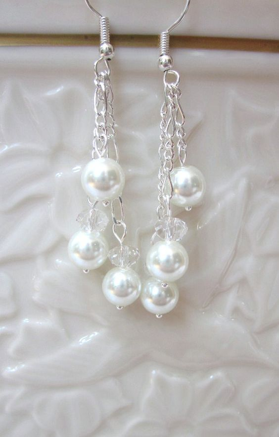 Bridal Earrings of White Pearls Accented by CreationsbyCynthia1, $15.00