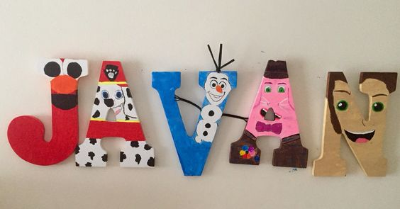 Character letters, Elmo , Marshall, Olaf, bing bong, and little Tarzan ! All of my son's favorite characters