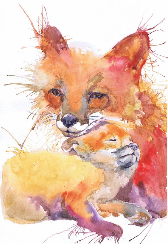 fox painting mother and baby and watercolor fox on pinterest